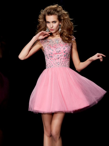 Stylish A-Line/Princess Sleeveless Beading Bateau Short Satin Homecoming Dresses