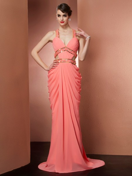 Fashion A-Line/Princess Beading Sleeveless Halter Long Chiffon Dresses