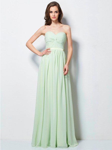 Fashion A-Line/Princess Pleats Sleeveless Sweetheart Long Chiffon Dresses