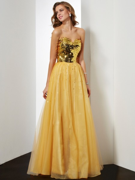 Fashion Ball Gown Sleeveless Sequin Sweetheart Long Organza Dresses