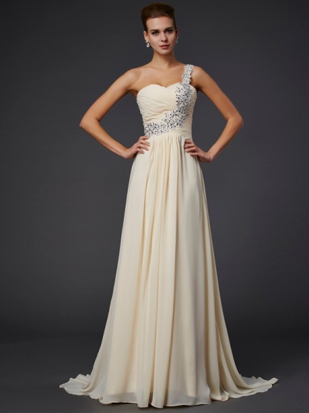 Fashion A-Line/Princess Sleeveless Beading One-Shoulder Applique Long Chiffon Dresses