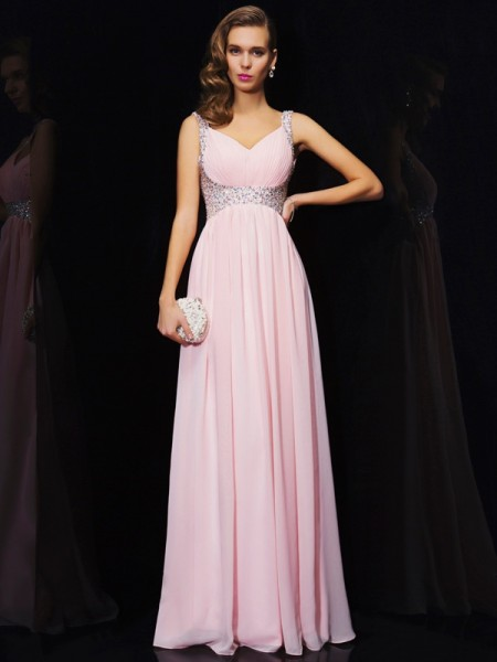 Stylish A-Line/Princess V-neck Beading Sleeveless Long Chiffon Dresses
