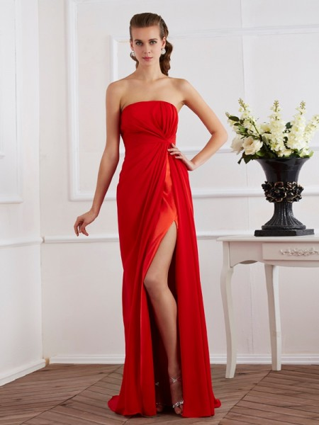 Fashion Sheath/Column Sleeveless Pleats Strapless Long Chiffon Dresses