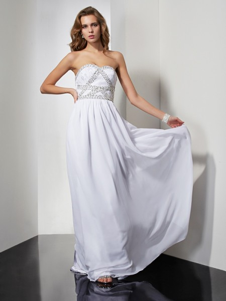 Stylish Sheath/Column Sleeveless Beading Strapless Long Chiffon Dresses