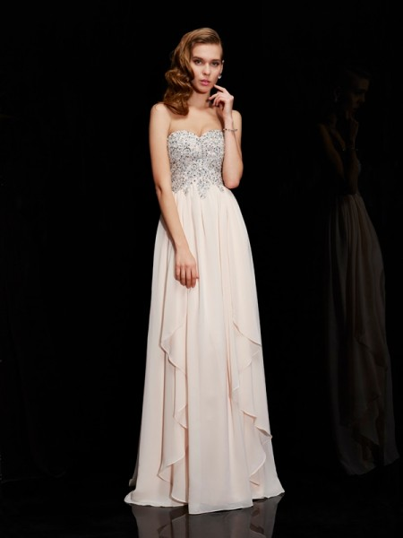 Fashion Sheath/Column Sleeveless Beading Sweetheart Long Chiffon Dresses