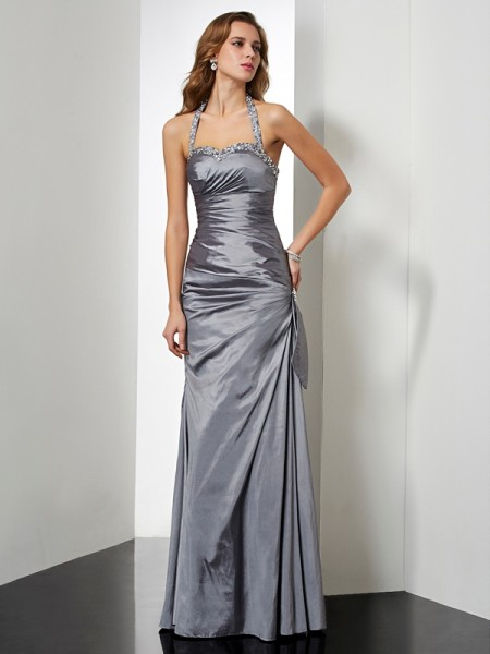 Stylish Trumpet/Mermaid Sleeveless Beading Halter Long Taffeta Dresses