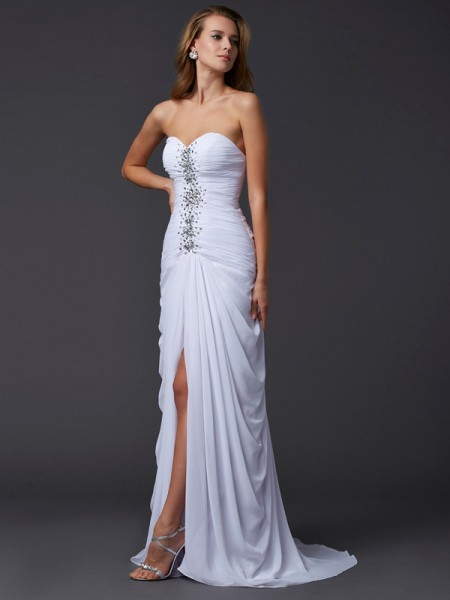 Fashion Sheath/Column Sleeveless Long Sweetheart Beading Chiffon Dresses