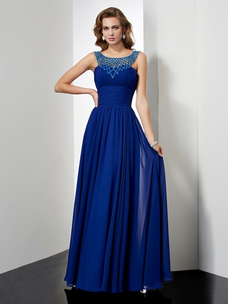 Stylish Empire Sleeveless Beading High Neck Long Chiffon Dresses