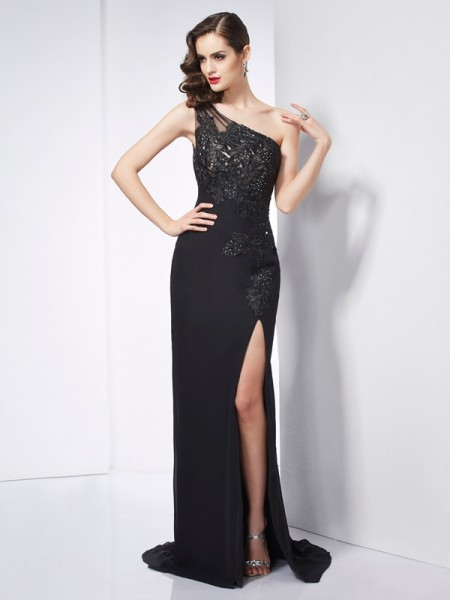 Fashion Sheath/Column Sleeveless Applique One-Shoulder Long Chiffon Dresses
