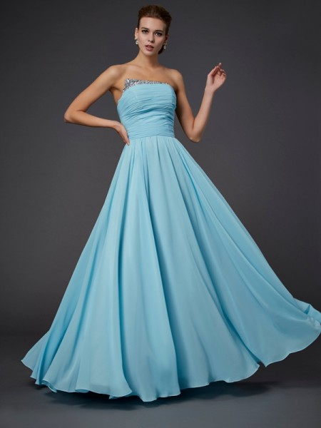 Stylish Sheath/Column Beading Sleeveless Strapless Long Chiffon Dresses