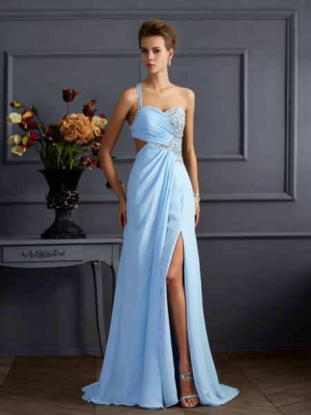 Fashion Sheath/Column Sleeveless Long One-Shoulder Beading Chiffon Dresses