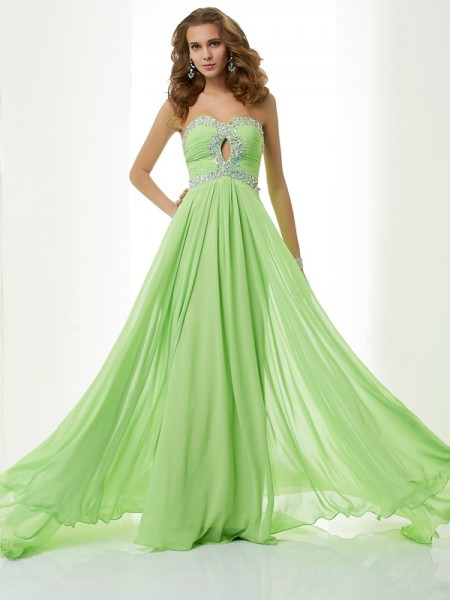 Fashion A-Line/Princess Sweetheart Beading Sleeveless Long Chiffon Dresses
