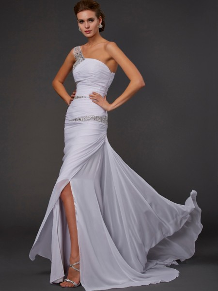 Stylish Sheath/Column One-Shoulder Beading Sleeveless Long Chiffon Dresses