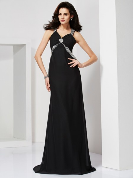 Stylish Sheath/Column Sleeveless Beading Straps Long Chiffon Dresses