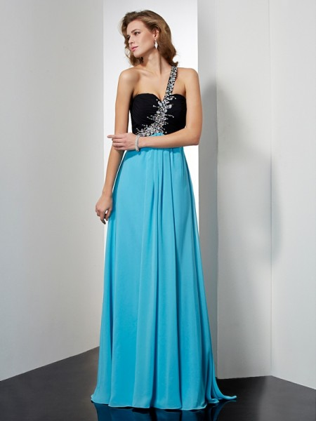 Fashion A-Line/Princess One-Shoulder Beading Sleeveless Long Chiffon Dresses
