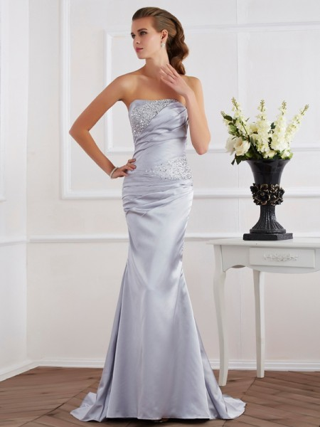 Stylish Trumpet/Mermaid Beading Long Strapless Elastic Woven Satin Dresses