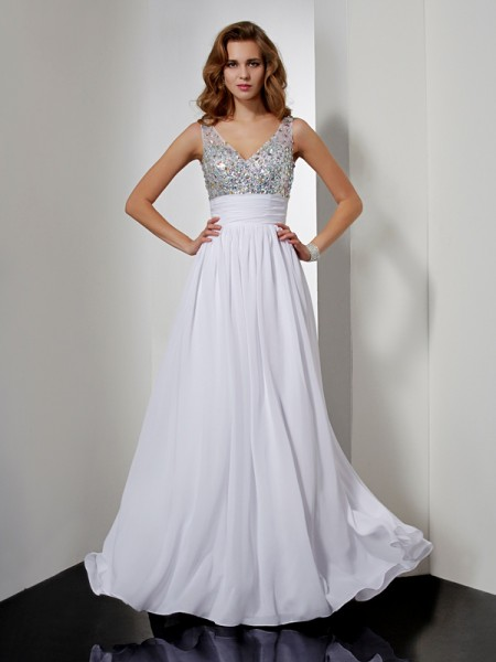 Stylish A-Line/Princess Rhinestone Sleeveless V-neck Long Chiffon Dresses