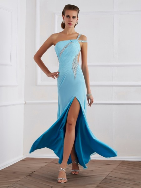 Stylish A-Line/Princess Beading One-Shoulder Sleeveless Long Chiffon Dresses