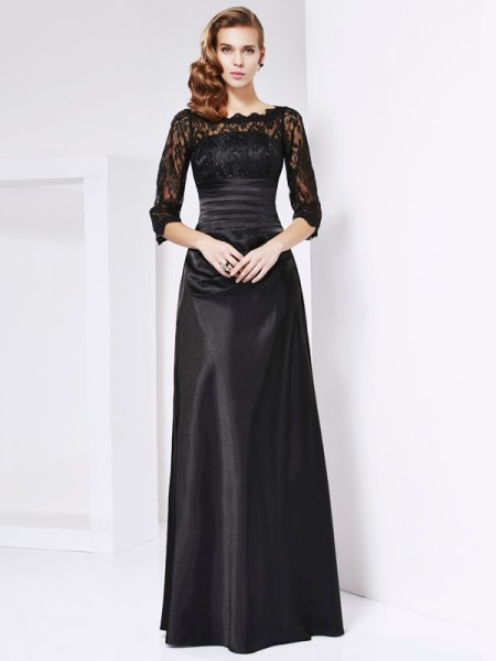 Fashion Sheath/Column the Shoulder Off 3/4 Sleeves Lace Long Elastic Woven