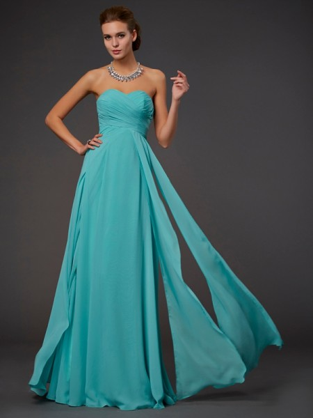 Stylish A-Line/Princess Pleats Sweetheart Sleeveless Long Chiffon Dresses