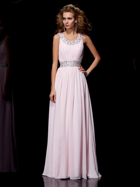 Stylish A-Line/Princess Sleeveless Beading Scoop Long Chiffon Dresses