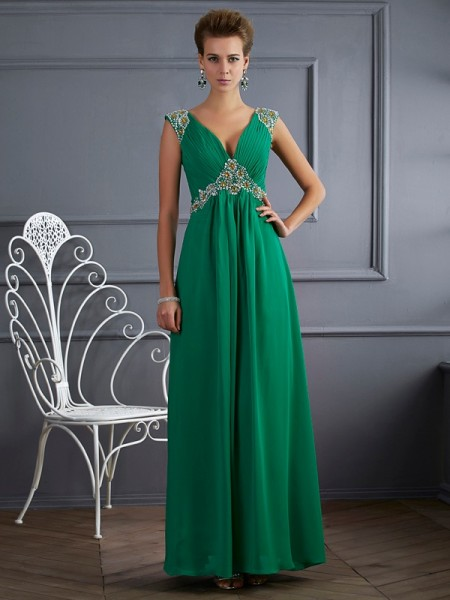 Fashion A-Line/Princess Short Sleeves Beading V-neck Long Chiffon Dresses