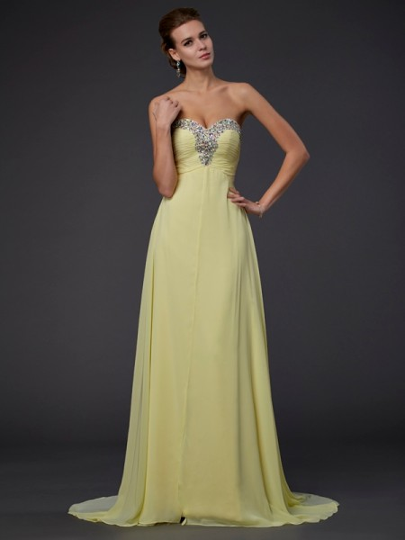 Stylish A-Line/Princess Beading Long Sweetheart Sleeveless Chiffon Dresses
