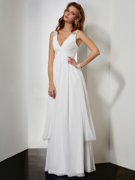 Fashion A-Line/Princess Sleeveless Rhinestone V-neck Long Chiffon Dresses