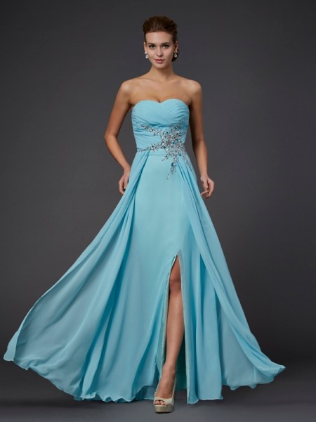 Fashion Sheath/Column Sweetheart Beading Sleeveless Long Chiffon Dresses