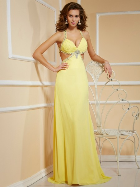 Stylish Sheath/Column Straps Sleeveless Spaghetti Beading Long Chiffon Dresses