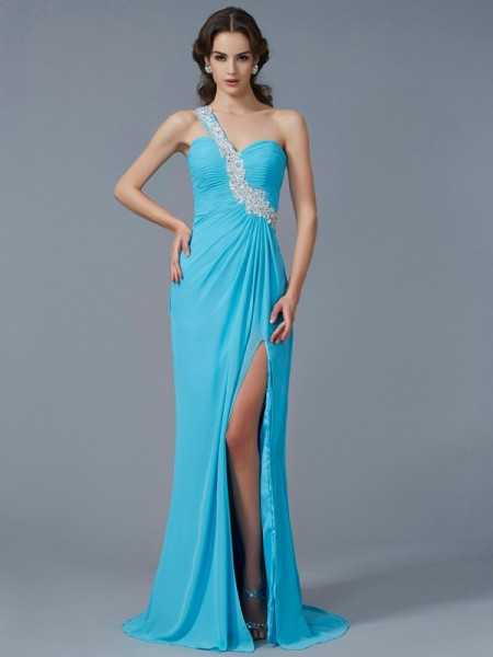 Fashion Sheath/Column Sleeveless Beading One-Shoulder Applique Long Chiffon Dresses
