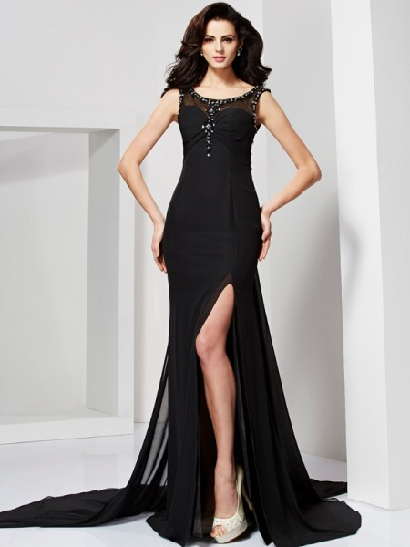 Fashion Sheath/Column Sleeveless Ruffles Scoop Long Chiffon Dresses