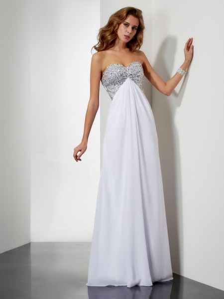 Stylish Sheath/Column Sweetheart Sleeveless Beading Long Chiffon Dresses