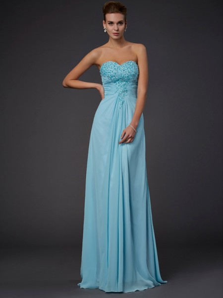 Stylish Sheath/Column Sleeveless Beading Sweetheart Long Chiffon Dresses