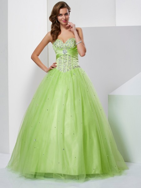 b1ccee52495 Stylish Ball Gown Beading Sleeveless Sweetheart Long Tulle Quinceanera  Dresses
