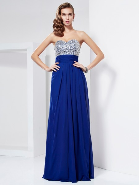 Fashion Sheath/Column Sleeveless Rhinestone Sweetheart Long Chiffon Dresses