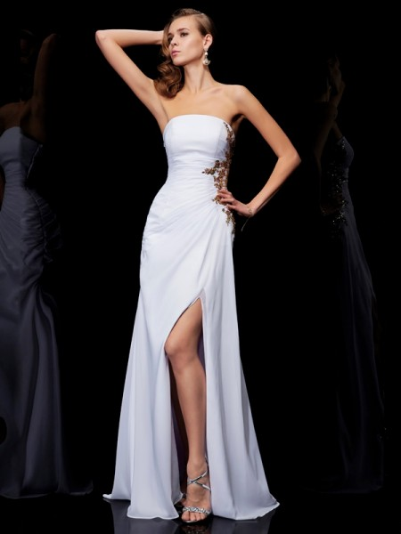 Fashion Sheath/Column Sleeveless Ruffles Strapless Long Chiffon Dresses