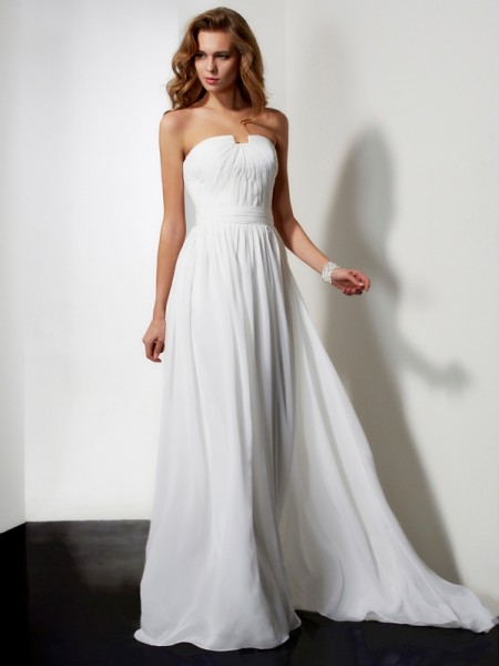 Stylish A-Line/Princess Sleeveless Pleats Strapless Ruffles Long Chiffon Dresses