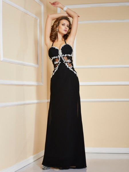 Fashion Sheath/Column Straps Sleeveless Spaghetti Applique Beading Long Chiffon Dresses