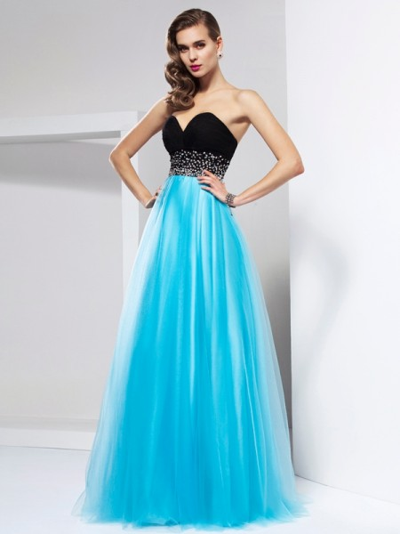 Stylish A-Line/Princess Sleeveless Sash/Ribbon/Belt Sweetheart Long Net Dresses