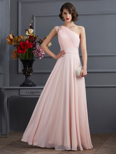 Stylish A-Line/Princess Sleeveless Long One-Shoulder Beading Chiffon Dresses