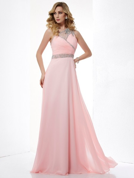 Stylish A-Line/Princess Sleeveless Beading One-Shoulder Chiffon Long Dresses