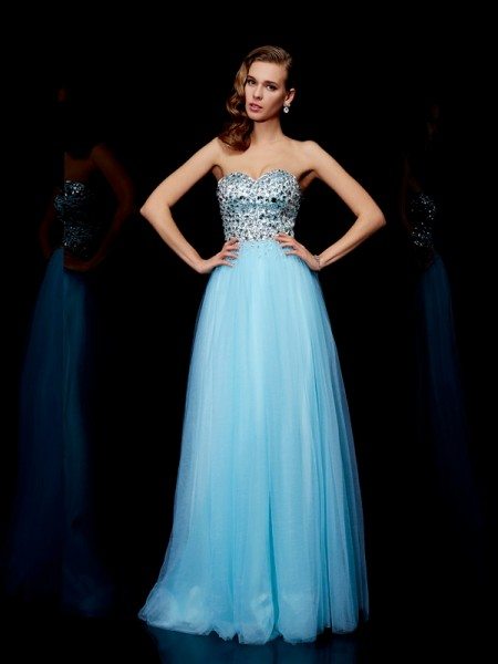 Fashion Ball Gown Sleeveless Beading Sweetheart Long Tulle Dresses