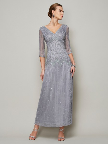 Stylish Sheath/Column 1/2 Sleeves Beading V-neck Long Elastic Woven Satin Mother of the Bride Dresses