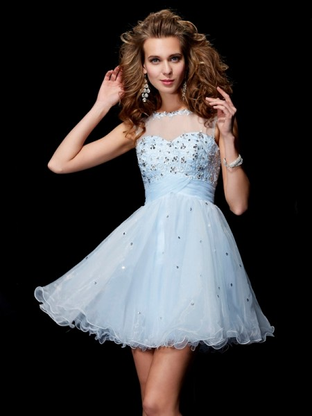 Stylish A-Line/Princess Sleeveless Beading Scoop Short Elastic Woven Satin Homecoming Dresses