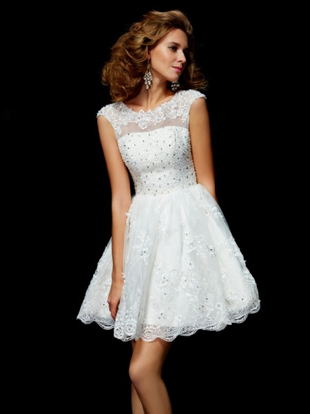 Stylish A-Line/Princess Short Sleeves Applique V-neck Short Organza Homecoming Dresses