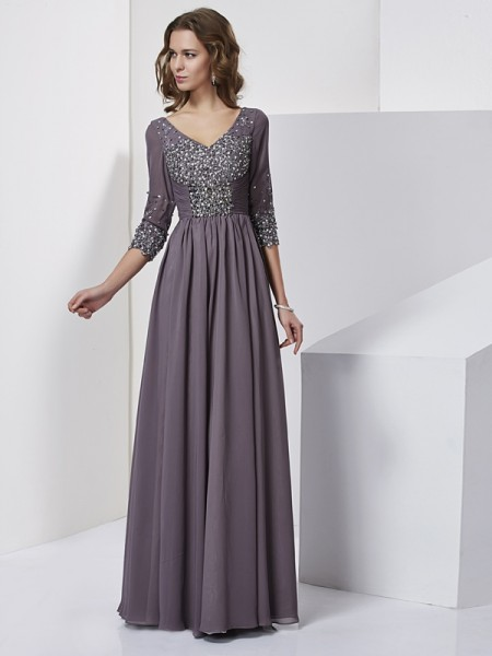 Fashion Sheath/Column Beading 3/4 Sleeves V-neck Long Chiffon Dresses