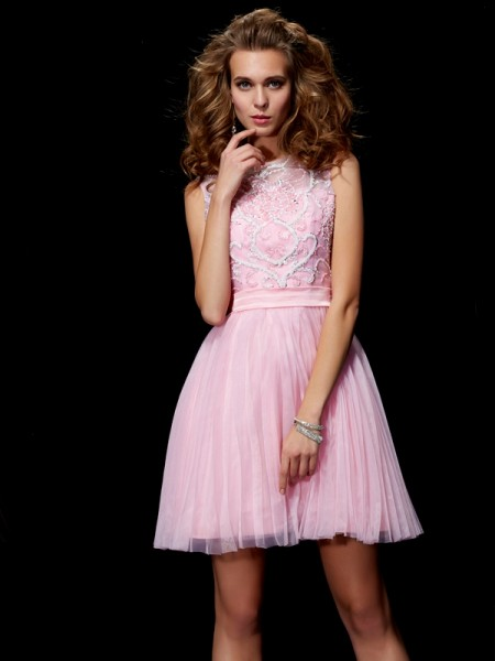Fashion A-Line/Princess Beading Short Scoop Elastic Woven Satin Homecoming Dresses