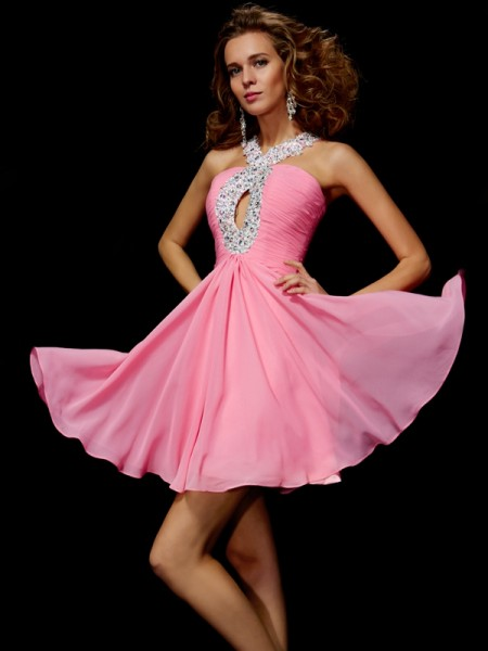 Stylish A-Line/Princess Sleeveless Beading V-neck Sequin Short Chiffon Homecoming Dresses