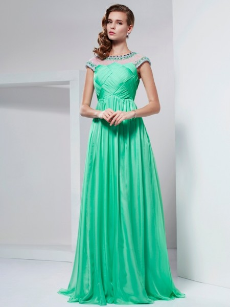 Stylish A-Line/Princess Short Sleeves Ruffles High Neck Long Chiffon Dresses